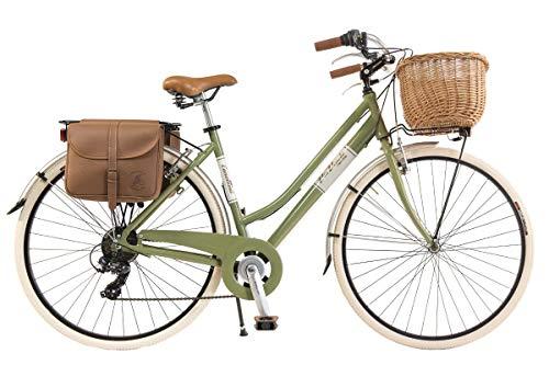 e bike damen retro Via Veneto By Canellini Fahrrad Rad Citybike CTB Frau Vintage Retro Via Veneto Alluminium (Grun Olive, 46)