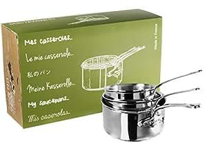 Mauviel1830 - M'Cook 521050 - Série de 3 Casseroles - 16 à 20 cm