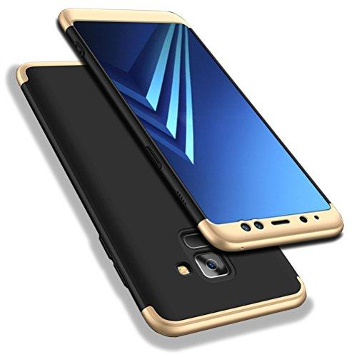 Bling-bling-felgen (Galaxy A8 2018 Hülle, WindCase Abdeckung Tasche Anti Fingerabdruck Stoßfest Anti-rutsch 3 in1 Harte PC Schutzhülle für Samsung Galaxy A8 2018 Schwarz Gold)