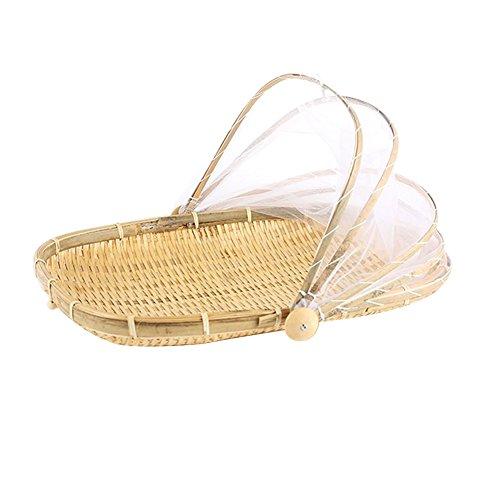 Cesta bambú tejida mano prueba insectos picnic secar