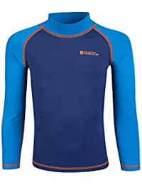 Mountain Warehouse Kids Rash Vest - UV Protection Rash Guard, Long Sleeves Childrens Rash Shirt, Flat Seams, Quick Drying, Stretch Fabric - Ideal for Swimming