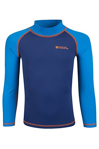 Mountain Warehouse Kids Rash Vest Long Sleeve Beach Swimming Pool Surfing Swim Top Boys Girls Surf Blue 7-8 years