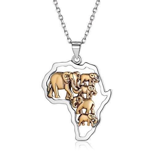 Nofade Silver Mapa de Africa Cinco Elefantes Collar Étnico de Elemento de...