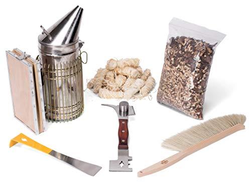 Imkado Imker Set XL - Premium Edelstahl-Smoker, Stockmeißel, Bienenbesen, Multifunktionswerkzeug, Rauchstoff und Bio-Anzünder - Einsteiger-Set Imkereibedarf