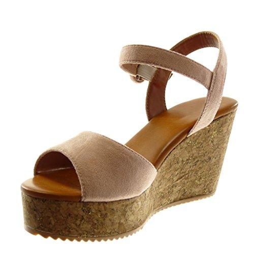 Angkorly Chaussures Mode Mules Sandales Avec Bride À La Cheville Wedges Femmes Tongs Cork Boucle Wedge Talon Platform 8.5cm Rose