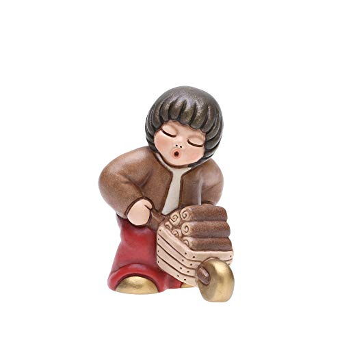 Thun® - bambino con carriola - versione rossa - statuine presepe classico - ceramica - i classici