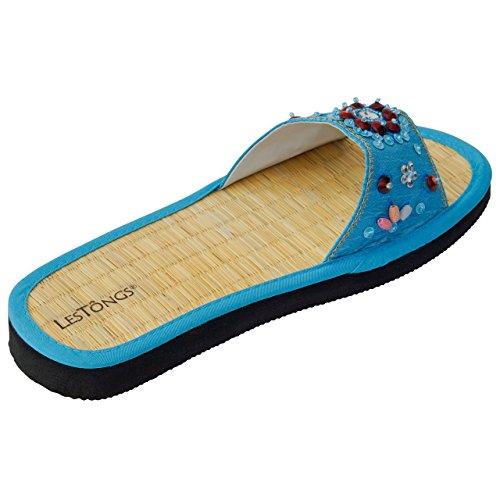 Japanwelt Zimtlatschen JUNCUS-H Oceanpearls   Zimt Sandalen mit Zimtsohle, vegan und ideal für den Sommer   Die Les Tongs Zimt Schuhe aus Vietnam Cyan