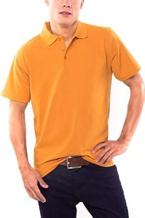 KringsFashion Herren-Poloshirt Fine Line curry, Größe S