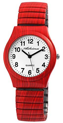 ADRINA Damenuhr Weiß Rot Holz-Optik Analog Quarz Metall Zugband Arabische Ziffern Armbanduhr