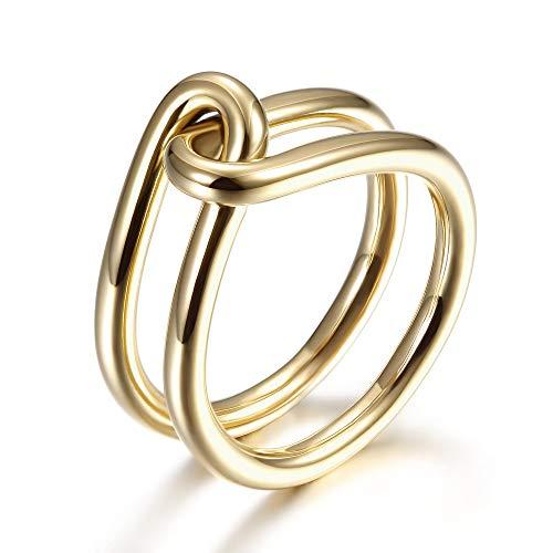WISTIC Goldringe für Frauen Mädchen Statement Fashion Ringe Vergoldeter Edelstahl Verlobungs Versprechen Knoten Liebesringe