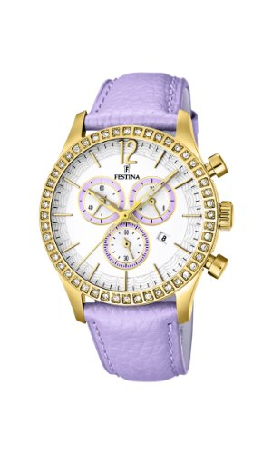 Festina Women's Quartz Watch with Mother Of Pearl Dial Chronograph Display and Pink Leather Strap F16605/3