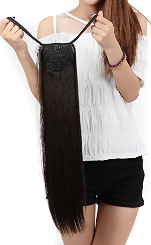 S-noilite Clip in Hair Extensions Haarteil Hairpiece Zopf Pferdeschwanz Haarverlängerung 55cm Glatt(Dunkelbraun) (Lila Clip In Hair Extensions)