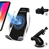 Wireless Car Charger Mount,Automatic Clamping 7.5W/10W Qi Fast Car Charging Phone Holder Air Vent Dashboard Windshield For iPhone Xs/Xs Max/XR/X/ 8/8 Plus,Samsung Galaxy S10/S10+/S9 /S9+/S8