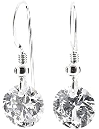 pewterhooter 925 Sterling silver drop earrings made with sparkling Diamond White AAA Cubic Zirconia. London box.