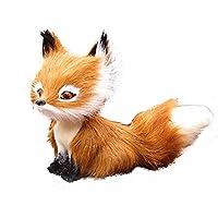wiFndTu Simulation Faux Fur Squatting Fox Model Ornament Toy Home Decor Birthday Gift