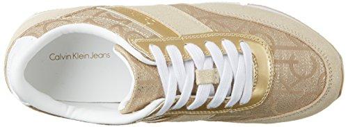 Calvin Klein Jeans Tea Metallic Jacquard/Suede, Sneakers Basses Femme Or (Gold)