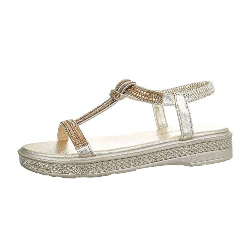 Gold-strap Sandalen (Ital-Design Damenschuhe Sandalen & Sandaletten Riemchensandalen Synthetik Gold Gr. 41)
