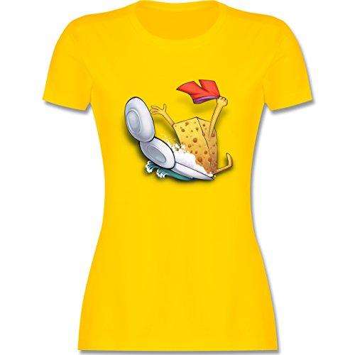 Comic Shirts - Spülschwamm - Wasserrutsche - M - Gelb - L191 - Damen T-Shirt Rundhals