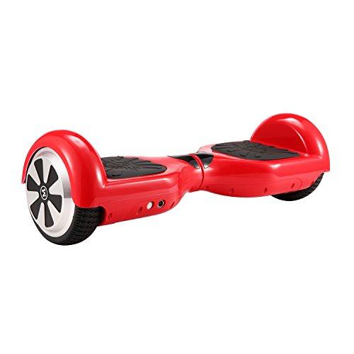 CHIC 6.5\'\' Skateboard Autobilanciato Self Balance Scooter Elettrico connessione Bluetooth con LED (Rosso)