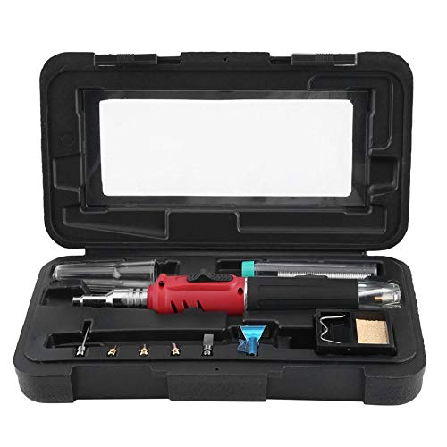 Butangas Lötkolben Set 26 ml Schweißset Fackel Stift Stil Design Kompakte Leichte Für Heißluftpistole Flammenpistole, Rot, ()