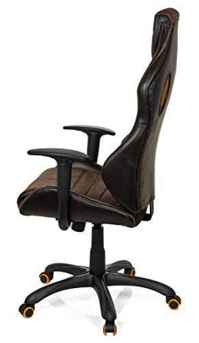 41frAMVearL - hjh OFFICE 621880 RACER VINTAGE IV - Silla Gaming y oficina,  piel sintética marrón