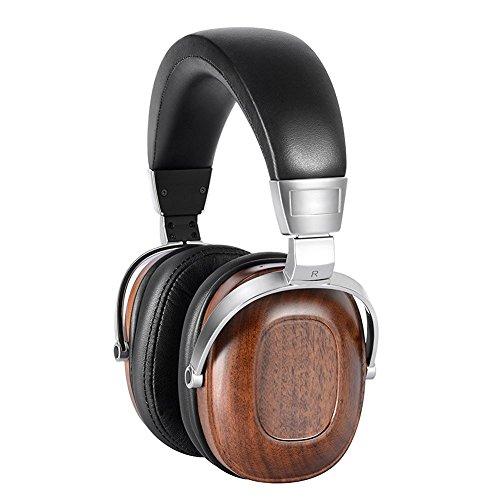 Ipod-laufwerk (KINDEN Holz Headset GeräuschisolierendeOver-Ear Kopfhörer Audio Stereo HiFi Musik weichen Ohrpolster Ohrhörer mit Beryllium-Legierung Laufwerk und Leder für iPhone Samsung HTC iPad iPod)