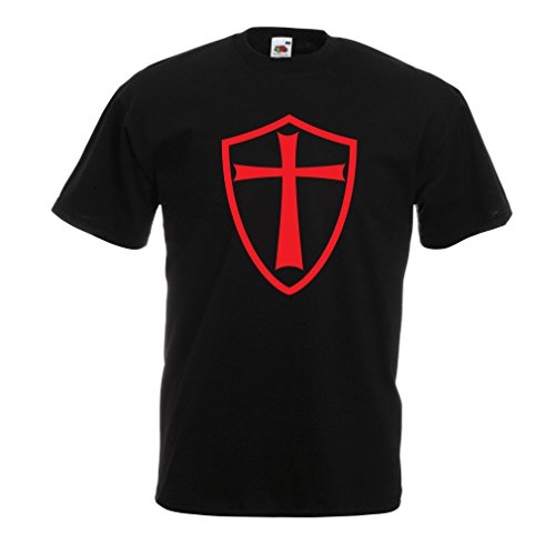 Männer T-Shirt Ritter Templer - Die Templer Schild Christian Ritter Ordnung (Large Schwarz (Kostüm Geheime Gesellschaft)