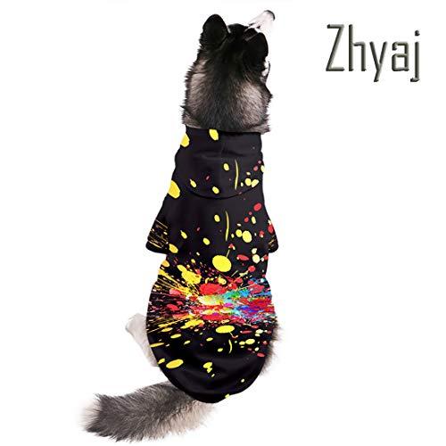 5xl Weihnachtsmann Kostüm - Zhyaj 3D-Druck Hundekleidung Herbst und Winter Warm halten Weich Haustier Hoodie Klein und groß Einzigartig Buntes Design Haustier Jacke Jacke,A,5XL