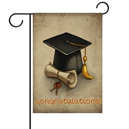 ASKYE Congrats Graduation Cap and Diploma Garden Yard Flag Double Sided, Congratulations You Did It Decorative Garden Flag Banner for Outdoor Home Decor Party(Size: 28inch W X 40inch H)