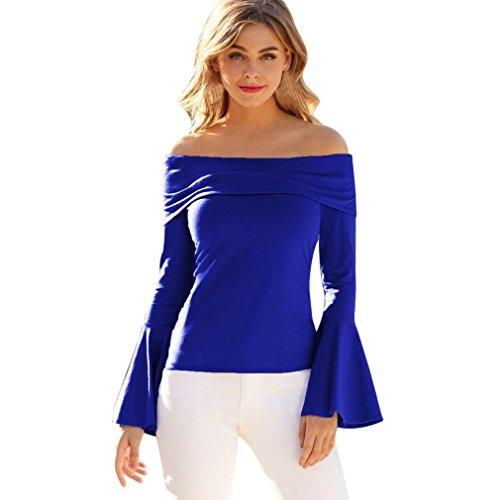 Jiameng Top Donna Tinta Unita Cinghie Shirt T Shirt Maniche Lunghe da Donna Cotone Maniche Corte Flan Camicia con Top Tromba Slim Maglietta Manica