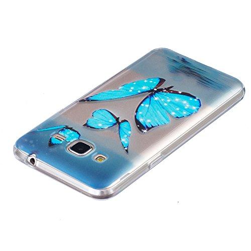Per iPhone 7 Plus Custodia,Mobilefashion Custodia in Ultra Sottile TPU Protettiva Case Cover per Apple iPhone 7 Plus 5.5 inch (lupo M) + Pellicola Protettiva Dono Gratuito + Colore casuale Protezione  Farfalla blu M