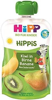 HiPP HiPPiS Quetschbeutel, Kiwi in Birne-Banane, 100% Bio-Früchte ohne Zuckerzusatz, 6 x 100 g Beutel