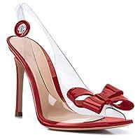 Pointed Toe High Heels for Women D-Orsay Stiletto Pumps Slip On Heeled Sandals Stripper Heels Crossdresser Wedding Party Dress Shoes (9,Red)