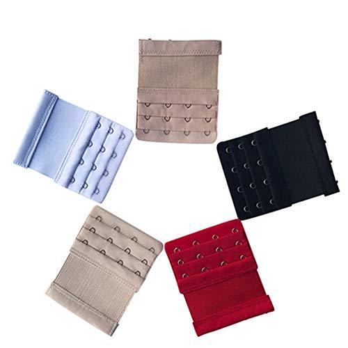 Egurs BH Verlängerung Bra Extender Erweiterung mit Elastisch Band,3 Reihen x 4 Haken,5 Stück (Schwarz,Weiß,Hautfarbe,Aprikose, rot)