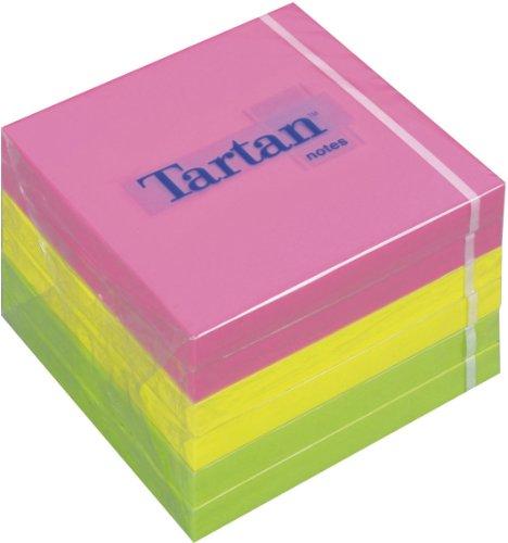 Tartan 7676N Haftnotiz Neon Notes, 76 x 76 mm, 63 g/qm, 100 Blatt, 6 Block, Neonfarben