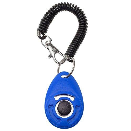 hmilydyk Pet Training Clicker Big Button-Kits mit Handgelenk Band Strip für professionelle Hund Katze Vogel Puppy Pferd, blau - Puppy Training Kit