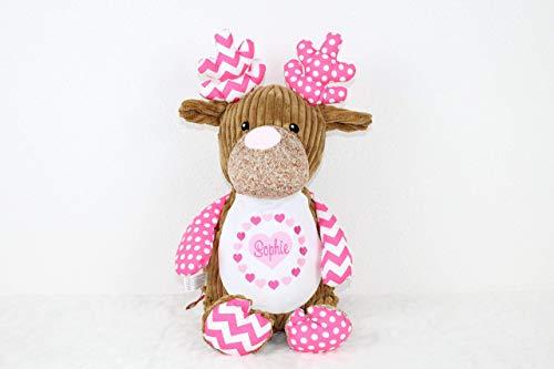 Stofftier Rentier pink individuell bestickt für Geburt Taufe Geburtstag