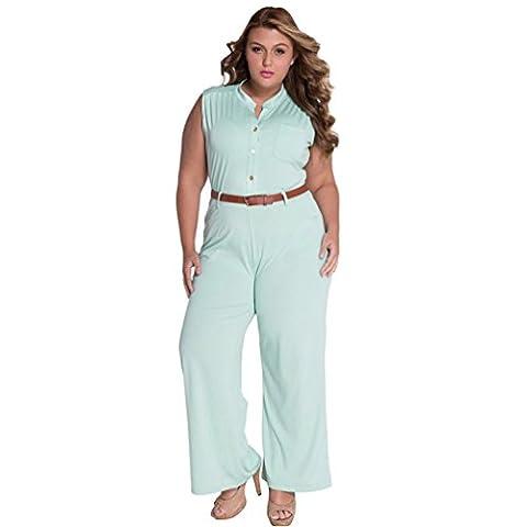 Bling-Bling Womens Light Blue Belted Wide Leg Jumpsuit Size S