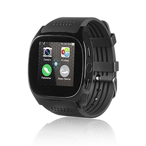 Price comparison product image TOP-MAX Smartwatch T8M Bluetooth Smart Watch Black with Heart Rate Monitor Fitness Tracker for Android Phone IOS iPhone 7 7plus 8 8Plus X