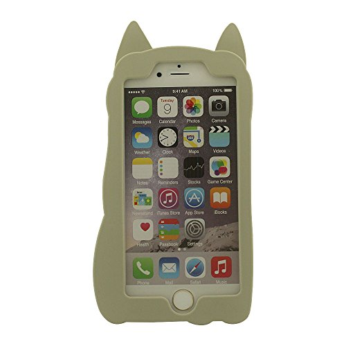 Silicone iPhone 6 Coque Case - Orange - Mignonne Animal ' Renard ' Apparence Souple Housse de Protection Anti choc Pour Apple iPhone 6S + Joli Pendentif Gris
