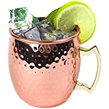 CENSUN 16-Ounce Moscow Mule Copper Mugs Drinking Cups Hammered Copper with Brass Handle