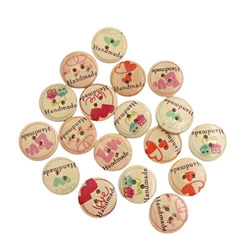 Healifty 50 Stücke Holzknöpfe Kinderknöpfe 2 Loch Knöpfe für Baby Kinder DIY Basteln Scrapbooking NähenKleidung Deko 20mm (Button Baby Schuhe)