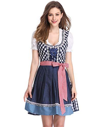 Clearlove Dirndl 3 tlg.Damen Midi Trachtenkleid für Oktoberfest- Spitzen Kleid, Bluse & Schürze, Blau Karo, 36 -