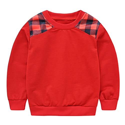 Livoral Kleinkind Baby Kinder Jungen Mädchen Plaid Sweatshirt Pullover Tops T Shirt(#2 Rot,4-5 Jahre)