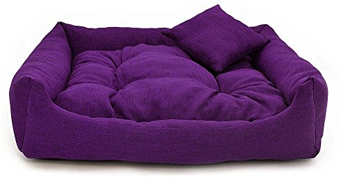 Gorgeous Quilted Reversible HQ Ultra soft Dual Sofa-Style Dog Bed with one extra Pillow -Small