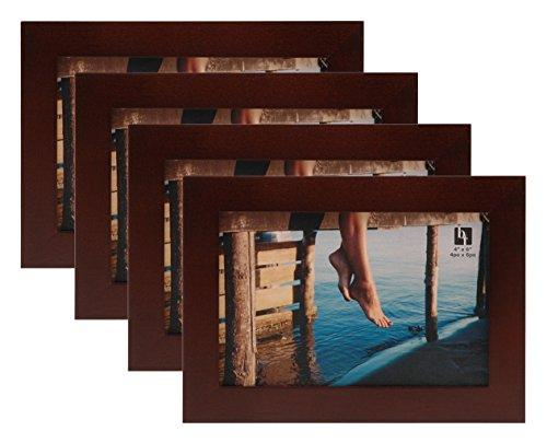 bordertrends Jazz 4x 15,2cm Walnuss massiv Holz Bilderrahmen, braun (4er Pack) -