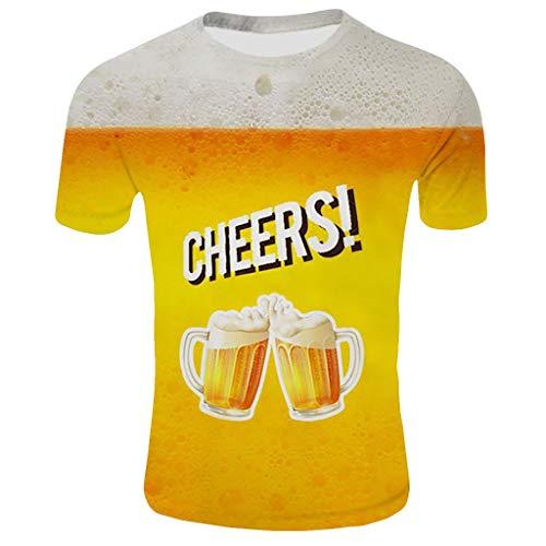 """Tyoby Herren Sommer \""""Bier Cheers Happy\"""" T-Shirt Bedrucken Mode Kurzärmliges Oberteil Orange T-Shirt(GelbA,L)"""