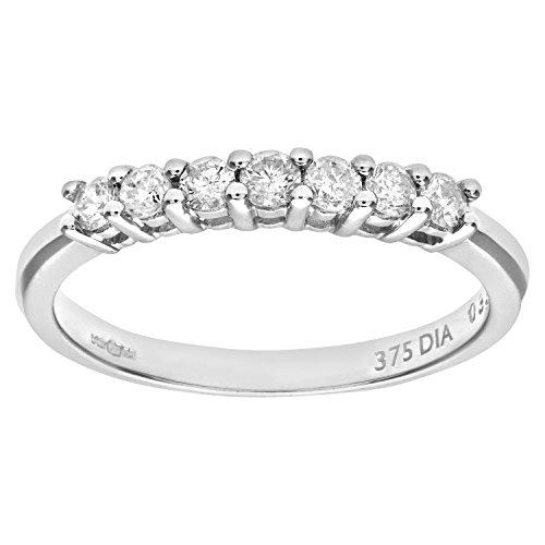 Bague - PR03644W-R - Anillo de mujer de oro blanco (9k) con 7 diamantes (talla: 19)