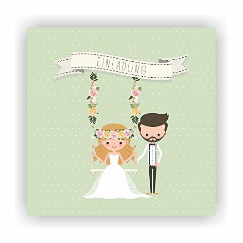 it I Brautpaar - Schaukel Grün I HO-022 Hochzeitseinladung (20 Stück) (Grüne Hochzeit Einladungen)