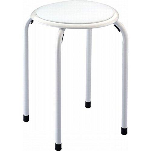 Sanwood 645000 Badhocker mit gepolsterter Sitzfläche, Sitzhocker pulverbeschichtet, Metall, weiß, 37.0 x 37.0 x 44.0 cm